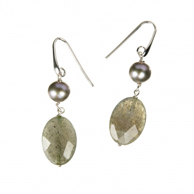 Orecchini di Labradorite, Perle e Argento 925