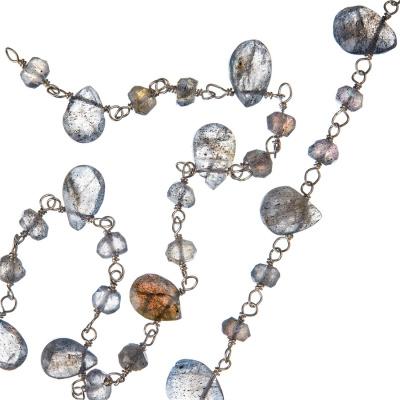 Catena Labradorite e Argento 925 - Fiori di Primavera - 10 cm.