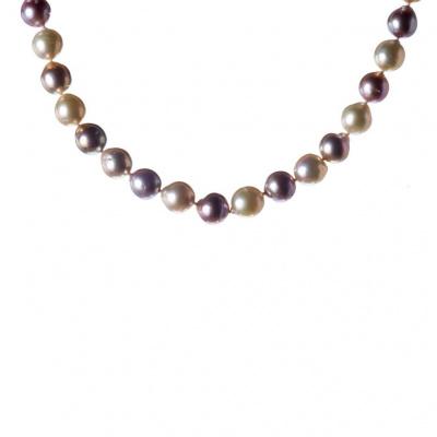 Collana di Perle Rosa, Perle Bianche e Argento 925