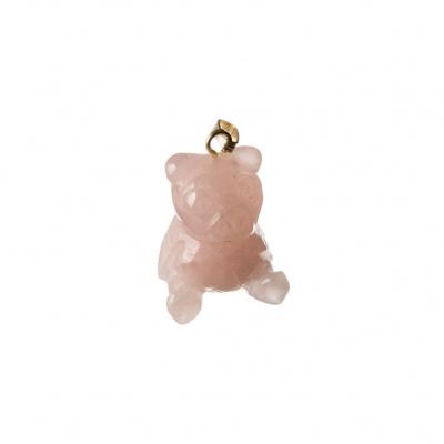 Ciondolo Orso in Quarzo Rosa