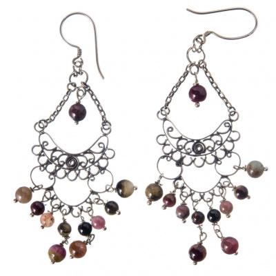 Orecchini chandelier con Tormalina e Argento 925