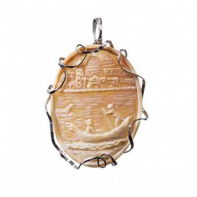 Ciondolo in Argento 925 e Cammeo ovale raffigurante Venezia