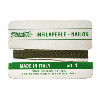 Filo Infilaperle in Nylon con ago - Bosco - Diametro da 0.4 a 0.9 mm