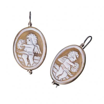 Orecchini in Argento 925 con Cammeo ovale raffigurante un Putto