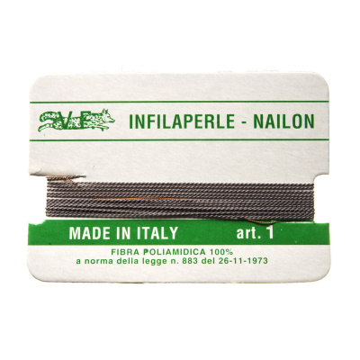 Filo Infilaperle in Nylon con ago - Grigio - Diametro da 0.4 a 0.9 mm