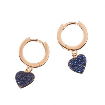 Orecchini Cuore in Argento Rosa 925 con Zirconi Blu