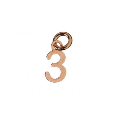 Ciondolo Numero Tre in Argento 925 Rosa