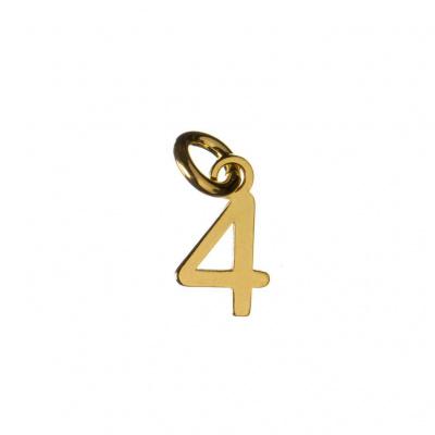 Ciondolo Numero Quattro in Argento 925 Dorato