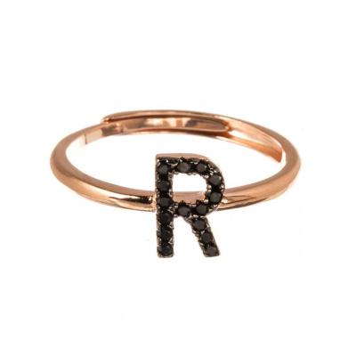 Anello Lettera R in Argento 925 Rosa e Zirconi Neri Regolabile