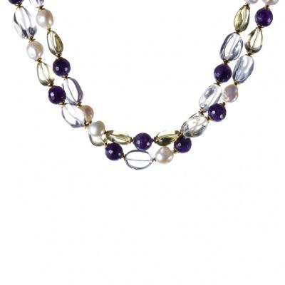 Collana di Cristallo di Rocca, Ametista, Perle, Quarzo Citrino e Ag 925 dorato