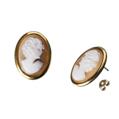 Orecchini in Argento 925 Dorato con Cammeo ovale