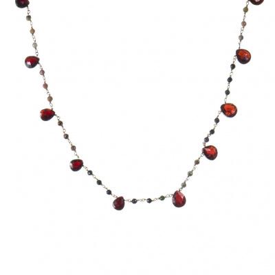 Collana di Granato, Tormalina e Argento 925 Dorato