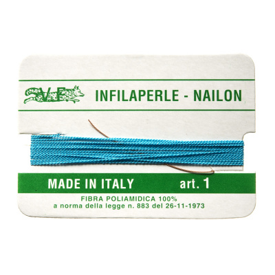Filo Infilaperle in Nylon con ago - Turchese - Diametro da 0.4 a 0.9 mm