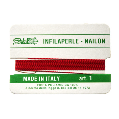 Filo Infilaperle in Nylon con ago - Rosso - Diametro da 0.4 a 0.9 mm