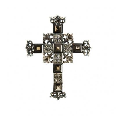 Ciondolo Croce in Quarzo Fumé e Argento 925