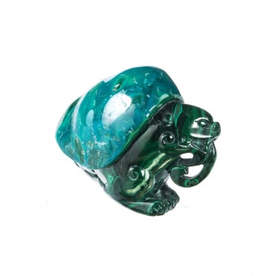Drago in Malachite e Crisocolla