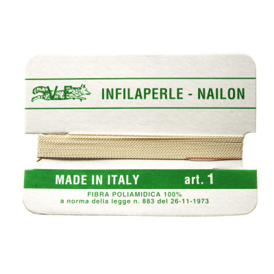 Filo Infilaperle in Nylon con ago - Ecrù - Diametro da 0.4 a 0.9 mm