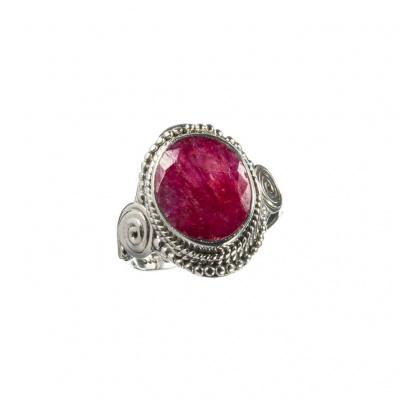 Anello Rubino ovale e Argento 925