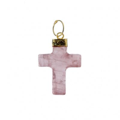 Ciondolo a croce di Quarzo Rosa