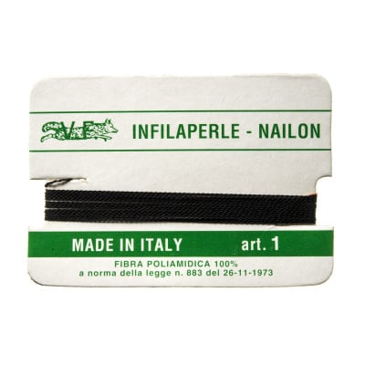 Filo Infilaperle in Nylon con ago - Nero - Diametro da 0.4 a 0.9 mm