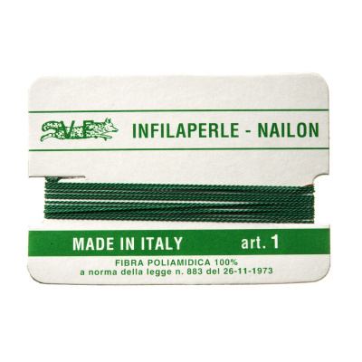 Filo Infilaperle in Nylon con ago - Giada - Diametro da 0.4 a 0.9 mm