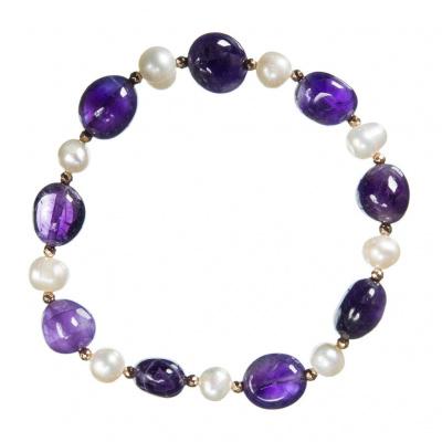 Bracciale elastico di Ametista e Perle
