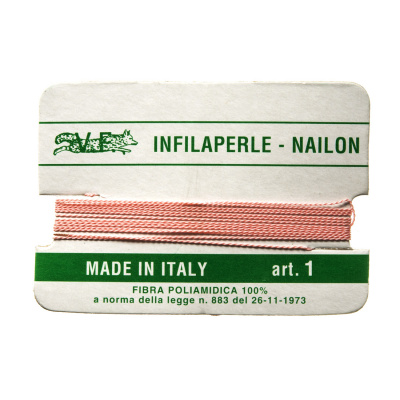 Filo Infilaperle in Nylon con ago - Rosa - Diametro da 0.4 a 0.9 mm