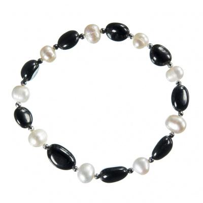 Bracciale elastico di Onice nera e Perle
