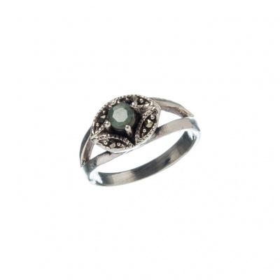 Anello con Smeraldo tondo, Marcasiti e Argento 925