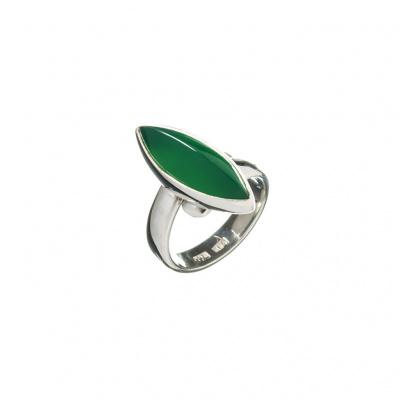 Anello regolabile Agata Verde e Argento 925