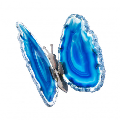 Farfalla in Agata Blu Striata