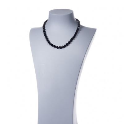 Collana di Tormalina nera sfere sfaccettate 10mm e Argento 925