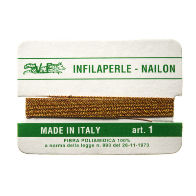 Filo Infilaperle in Nylon con ago - Ambra - Diametro da 0.4 a 0.9 mm
