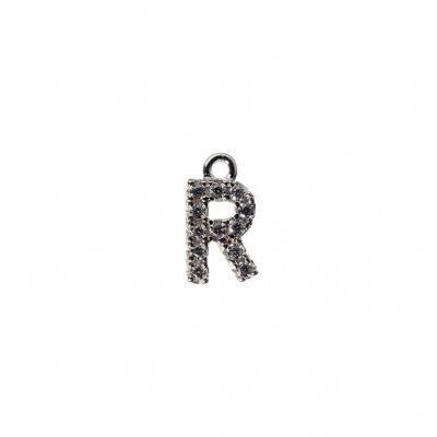 Pendente Alfabeto lettera R in Argento 925 e Zirconi