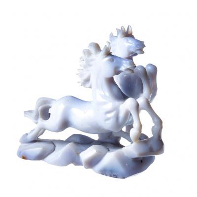 Coppia di Cavalli in Calcedonio