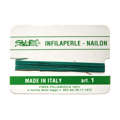 Filo Infilaperle in Nylon con ago - Smeraldo - Diametro da 0.4 a 0.9 mm