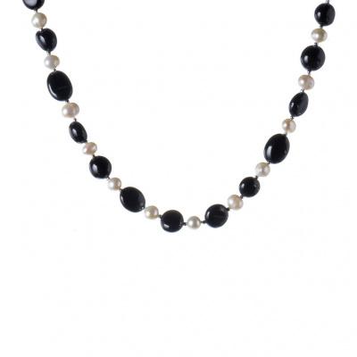 Collana di Onice Nera e Perle