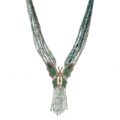 Collana in Smeraldo, Zirconi e Argento 925