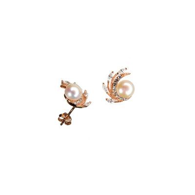 Orecchini in Argento 925 Rosa con Perla e Zirconi