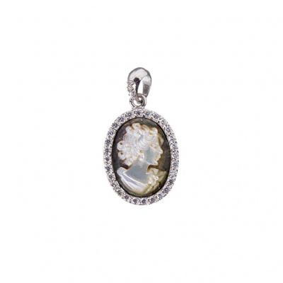Ciondolo in Argento 925 e Cammeo ovale Profilo di Donna