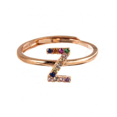 Anello Lettera Z in Argento 925 Rosa e Zirconi Colorati Regolabile