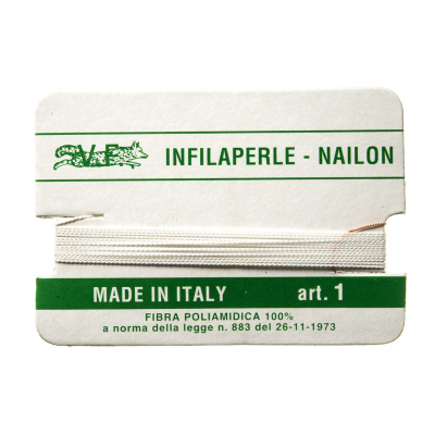 Filo Infilaperle in Nylon con ago - Bianco - Diametro da 0.4 a 0.9 mm
