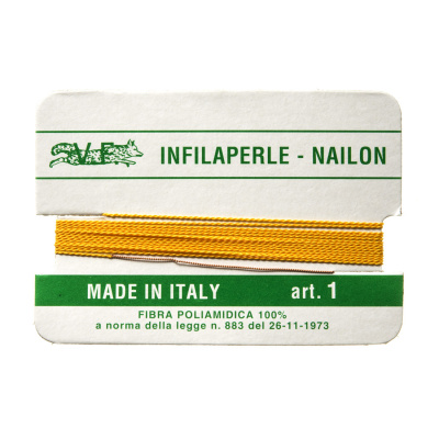Filo Infilaperle in Nylon con ago - Giallo - Diametro da 0.4 a 0.9 mm