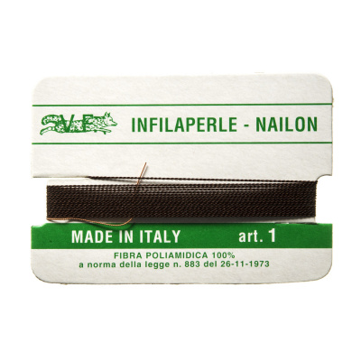 Filo Infilaperle in Nylon con ago - Marrone - Diametro da 0.1 a 0.9 mm