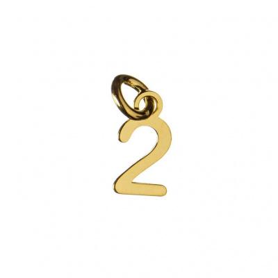 Ciondolo Numero Due in Argento 925 Dorato