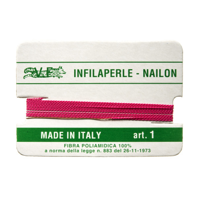Filo Infilaperle in Nylon con ago - Fucsia - Diametro da 0.4 a 0.9 mm