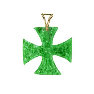 Ciondolo Croce in Giada Birmana (Myanmar) e Oro 18k