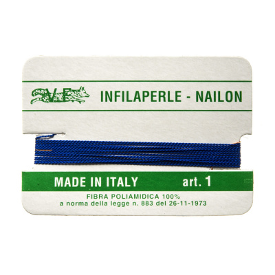 Filo Infilaperle in Nylon con ago - Bluette - Diametro da 0.4 a 0.9 mm