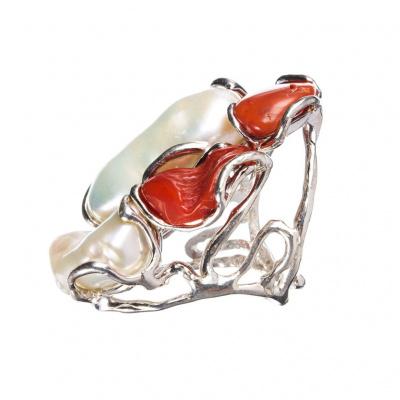 Anello con Perle e Coralli su Argento 925