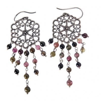 Orecchini chandelier di Tormalina e Argento 925